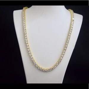 Other - 14k Yellow Gold Lab Diamond Tennis Necklace Chain